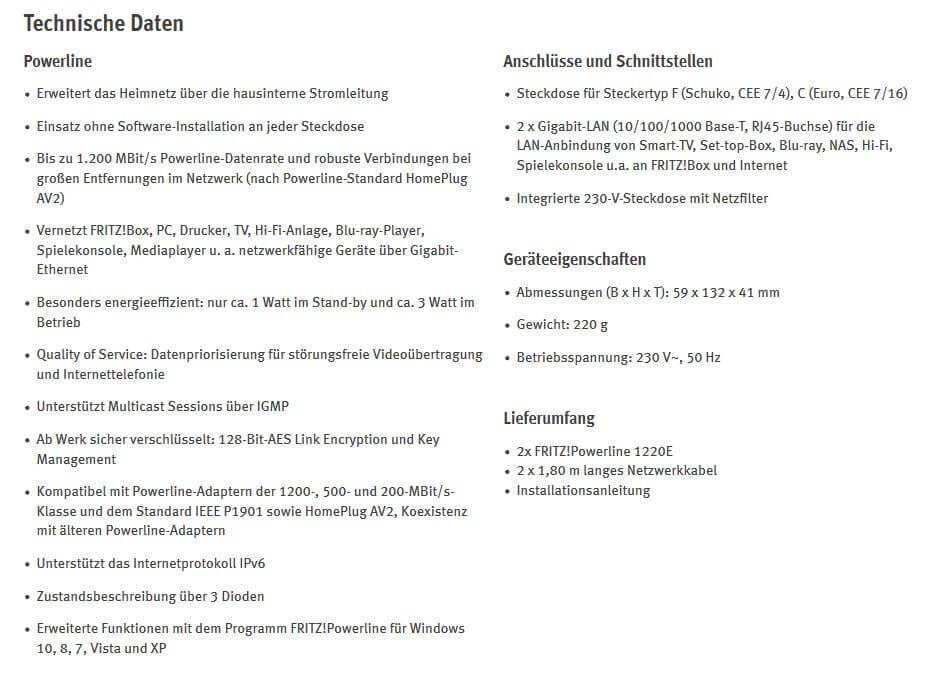 gamelover Fritz Powerline 1220E Set Technische Daten