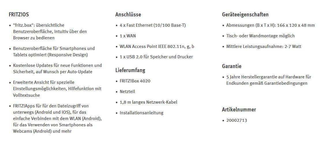gamelover FRITZ!Box 4020 Technische Daten 2